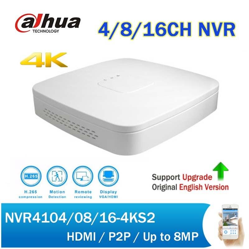 Dahua NVR4104-4KS2 NVR4108-4KS2 NVR4116-4KS2 4/8/16CH NVR H.265 4K Mini Smart 1U CCTV Network Video Recorder up to 8MP recording