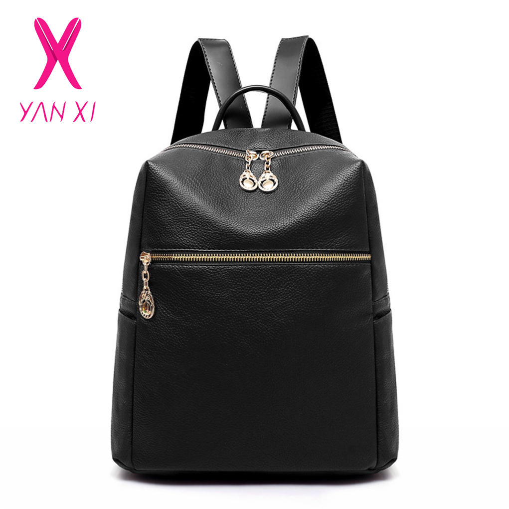 Yanxi New Korean Fashion Simple Soft Leather Women's Backpack College Wind Student Backpack Large Capacity Travel Bag Pure Black
