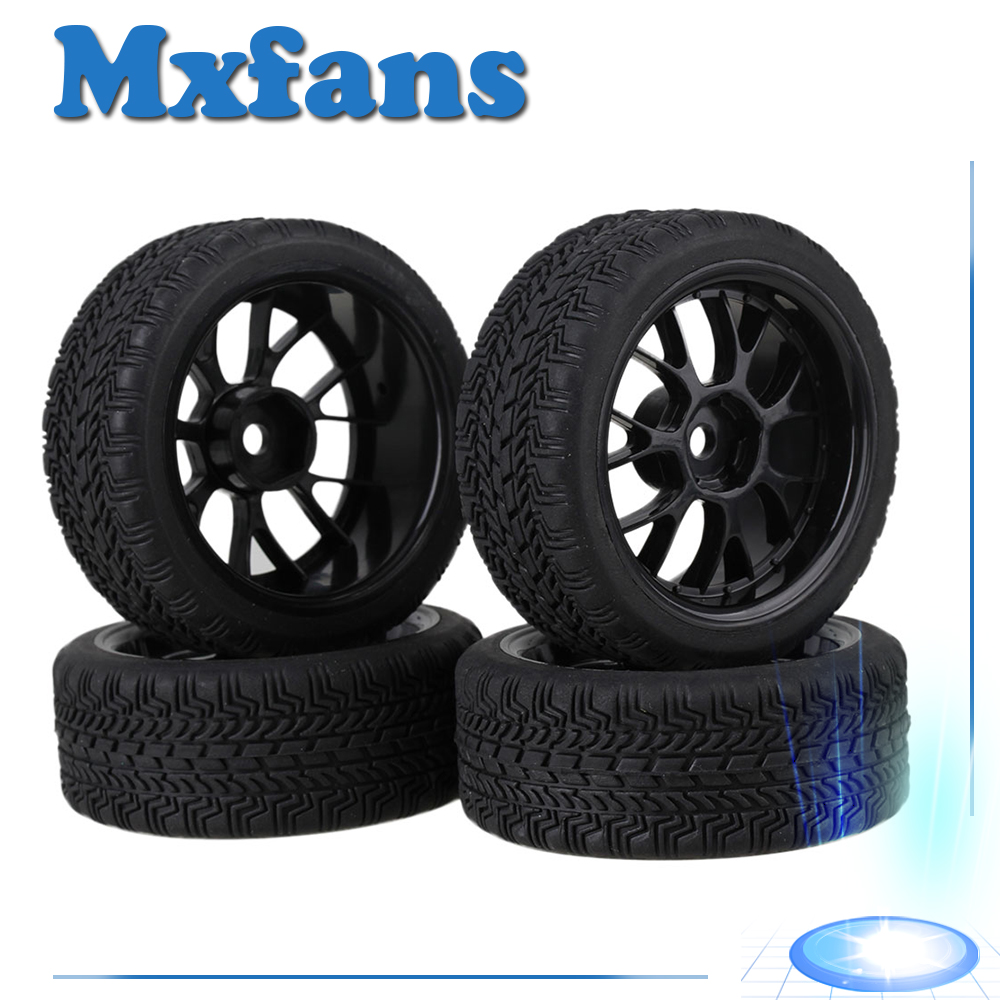 Mxfans 4 x RC1:10 On Road Car High Grip Rubber Tyre & Black Plastic Y Type Wheel Rim