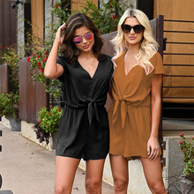 Rompers Women Jumpsuit Elegant Short Overalls Female Summer Playsuit V Neck Sexy Romper Chiffon