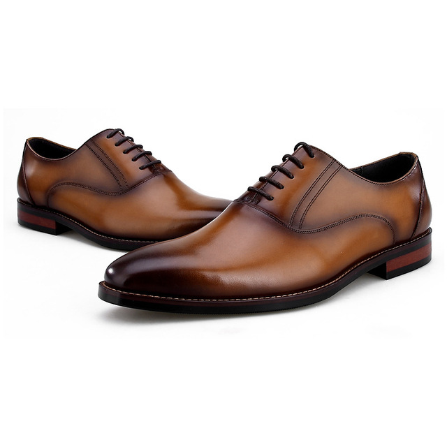 Breathable Black Brown Tan Pointed Toe Oxfords Mens Dress Shoes Genuine Leather Wedding