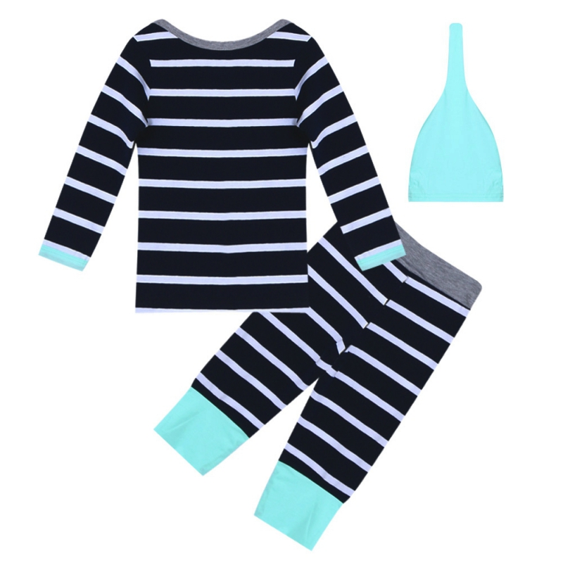 2018 Kacakid 3pcs Autumn Style Baby Clothing Sets Boy Cotton Long Sleeve And Comfortabe Trousers And Light Green Hat Suit Y6 Q1