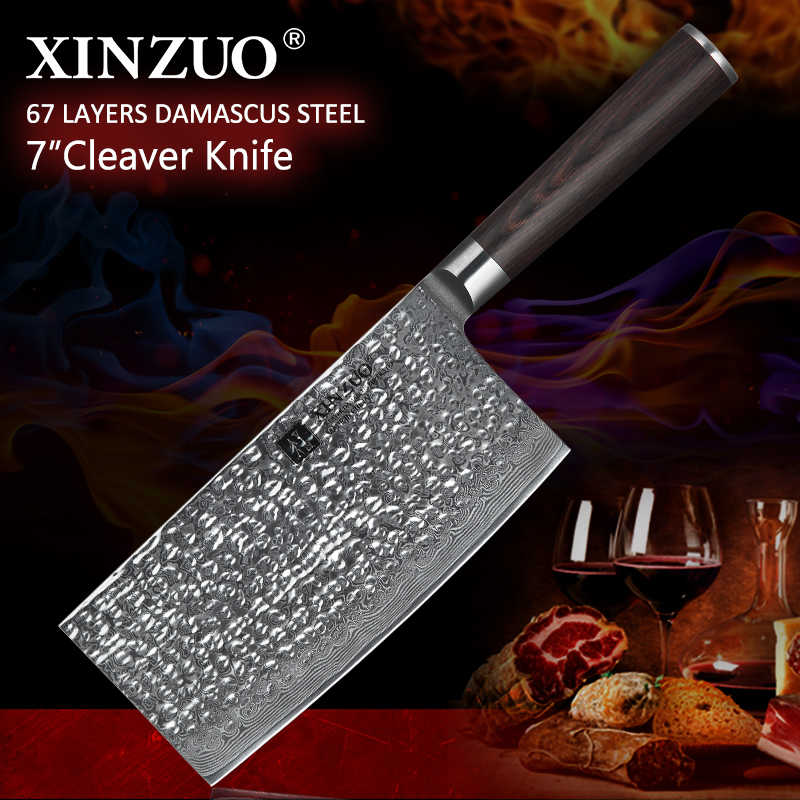 XINZUO 7'' inch Big Chinese Knife 67 layer VG10 Damascus Stainless Steel Kitchen Knife Pakka Wood Handle Butchers Cleaver Knives