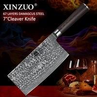 XINZUO 7 ''дюймовый большой китайский нож 67 слой VG10 Дамаск Нержавеющаясталь Кухня Ножи Pakka деревянной ручкой мясников Кливер ножи