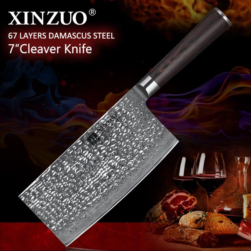 XINZUO 7 ''pouces grand couteau chinois 67 couche VG10 damas acier inoxydable couteau de cuisine Pakka manche en bois bouchers couperet couteaux-in Couteaux de cuisine from Maison & Animalerie    1