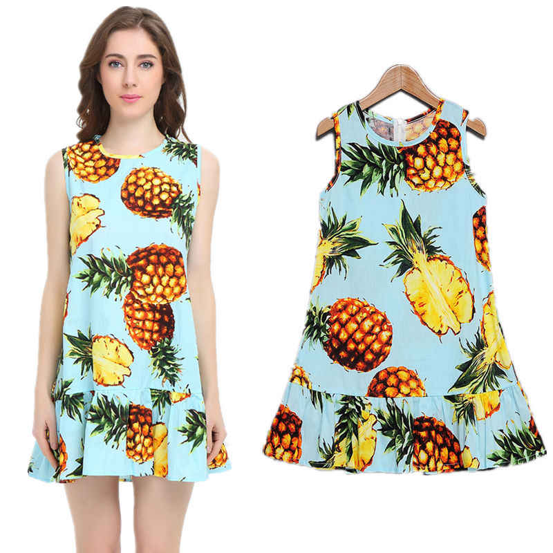 Летние одинаковые платья для мамы и дочки одежда для мамы и дочки с принтом ананаса, лимона и фруктов платье для всей семьи одежда Mere Fille