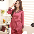 Encaje sólida ropa de dormir de seda pijamas Set manga larga pantalones largos de ocio Set salón mujeres pijamas establece hogar para mujer ropa XXXL