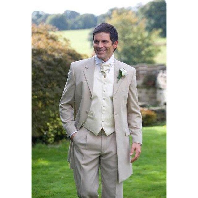 fea8ea10132 New Sale New Flat Costume Homme Men Tailcoat 3 Pieces Suits Vest Wedding  For Custom Notched Lapel Groom (jacket+pants+vest)