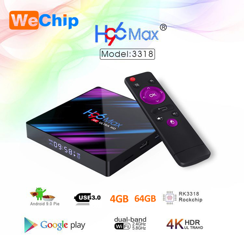 Wechip H96 MAX Android 9.0 TV Box 4G 64G RK3318 4 Core 2.4G/5G Wifi BT 4.0 4K HD Set Top Box Google Play YouTube Netflix H96max