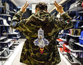 16ss fashion embroider outerspace rocket badges camo long hood trench jacket men and women camouflage windbreaker