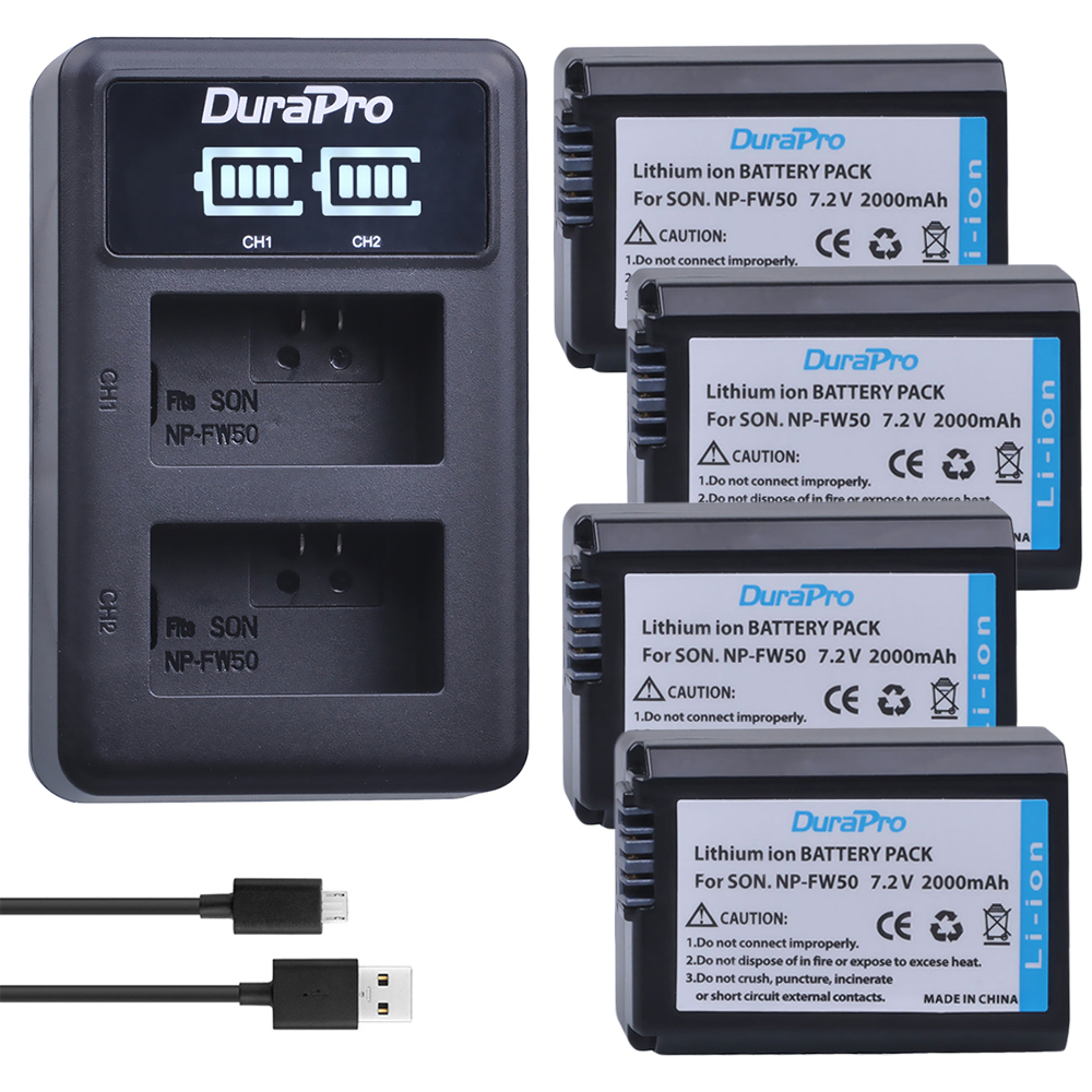 4 pc NP-FW50 NP FW50 Li-ion Batterie + LED Chargeur Pour Sony A6000 NEX-7 NEX-5N NEX-F3 3D NEX-3DW NEX-3K NEX-5C alpha 7R II NP-FW50