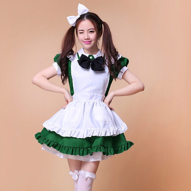 US $25 84 33% OFF|Shanghai cerita hot sale hijau pembantu cosplay anime  cosplay untuk anak perempuan dewasa lolita dress seragam restoran halloween