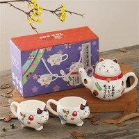 Japanese Lucky Cat Maneki Neko Ceramic Tea Set 1 Teapot 2 Tea Cups 1 Strain