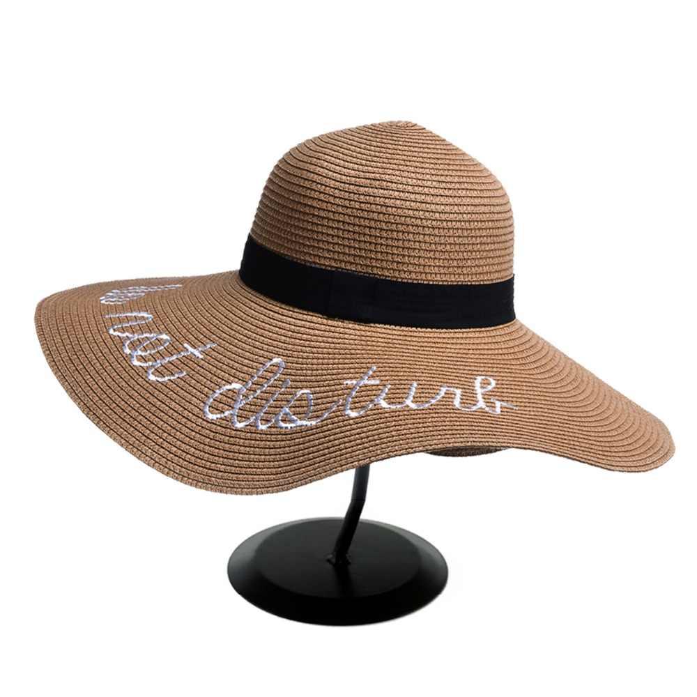 Szerokie rondo kapelusz słońce dla kobiet haft nie przeszkadzać Panama letnie kapelusze słomkowe Floppy kapelusz na plażę panie Kentucky Derby kapelusze A420