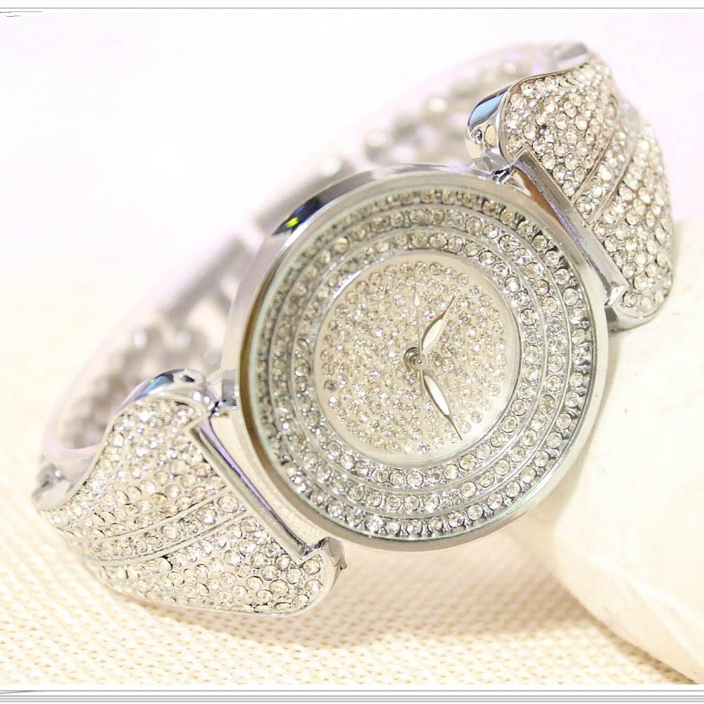 New Arrival Famous BS Brand Bling Diamond Bracelet Silver Watch Women Luxury Austrian Crystal Big Watch Rhinestone Charm Bangle