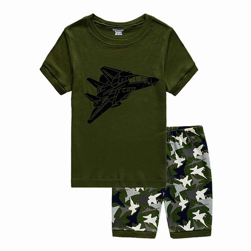 Домашняя пижама для мальчиков; хлопковый Пижамный костюм с рисунком самолета; Детская летняя вечерняя одежда для сна