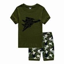Boys Home Pajamas Cotton Cartoon Airplane Suit Kids Summer Evening Sleepwear