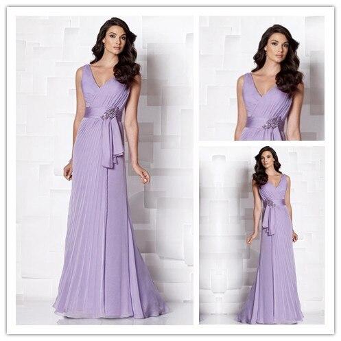 MANSA 2014 Elegant V Neck Purple Long Chiffon Mother Of The Bride Dresses With Belt Beaded Wedding Party Dresses Evening Dress