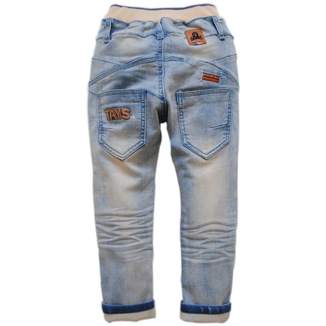 6448 Skull boy & girls pantalones vaqueros flacos delgados pantalones Lápiz denim jeans pantalones azul claro de primavera otoño de la manera 3-4 años