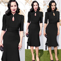 2016 New Womens Elegant Vintage Work Dress Slim Sheath Fitted Pencil Bodycon Evening Party Dresses