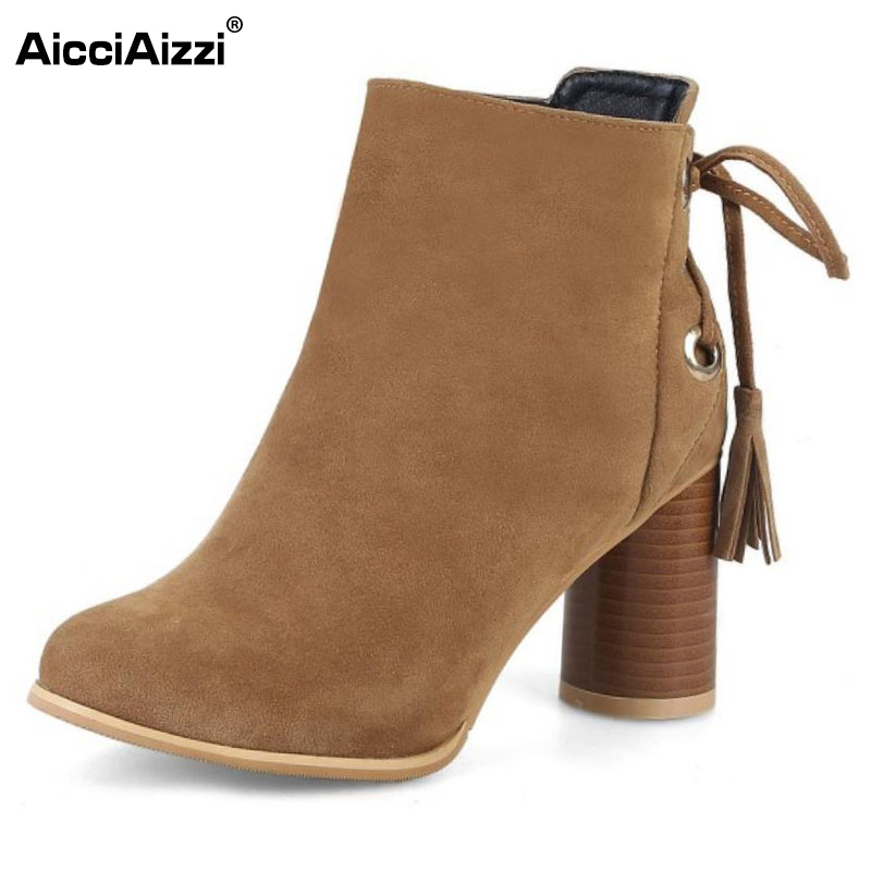 AicciAizzi Size 33 43 Lady High Heel Boots Women Zipper Bowtie Cross Strap Round Toe Boot