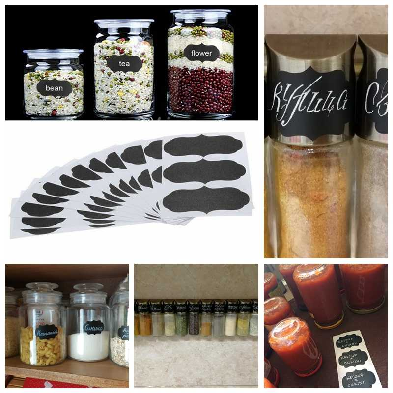 36pcs Blackboard Sticker Craft Kitchen Jars Organizer Chalkboard Labels Stickers Presentation Chalkboard Black Boards Stationery