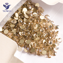 YANRUO 2058NoHF SS16 Golden Shadow 1440Pcs Stick On Nails Strass Non Hotfix Flat Back Crystal Rhinestones DIY