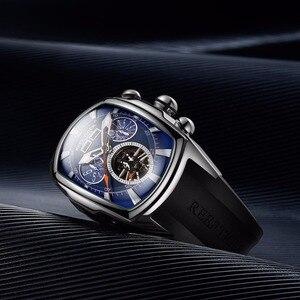 Image 4 - Дизайнерские спортивные часы Reef Tiger/RT с турбийоном, из нержавеющей стали, с резиновым ремешком и синим циферблатом, автоматические часы RGA3069