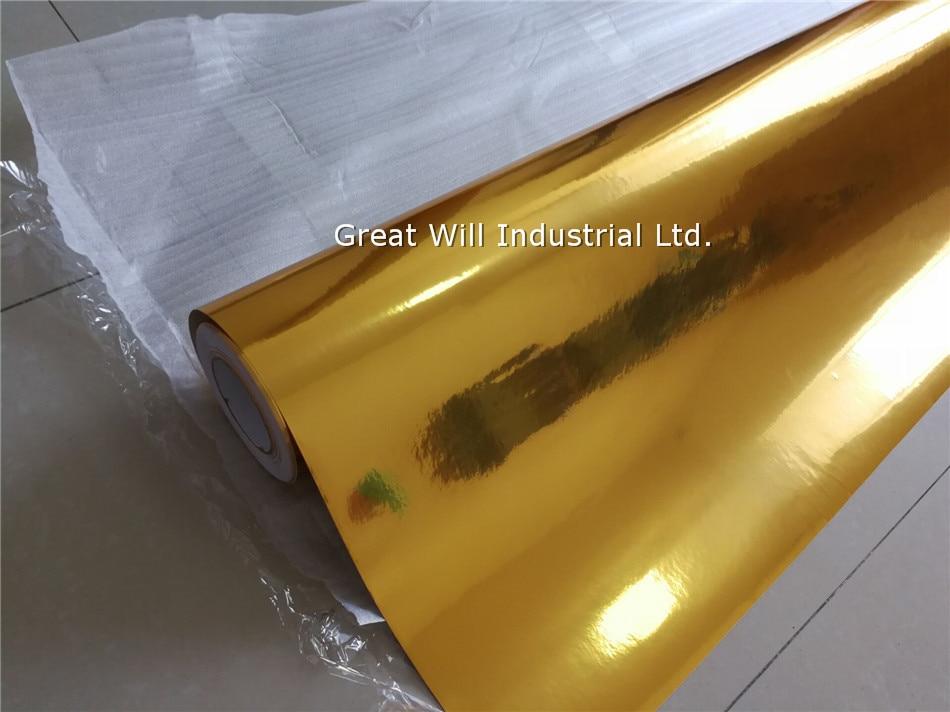 3 слоя Золотой хром зеркало винил Обёрточная бумага пленка для автомобиля хромированная Золотой пленка с воздушных пузырьков Размеры 1,52* возможностью погружения на глубину до 30 м/рулон