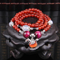 Fashion Natural Red Agate Stone Beaded Multilayer Strand Bracelets For Women Pendant Necklace Buddha Prayer Beads