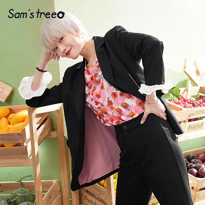 Sam s Tree Stylish Women Blazer Fashion Women Oversized Streetwear Office Lady Tops Puff Sleeve Female