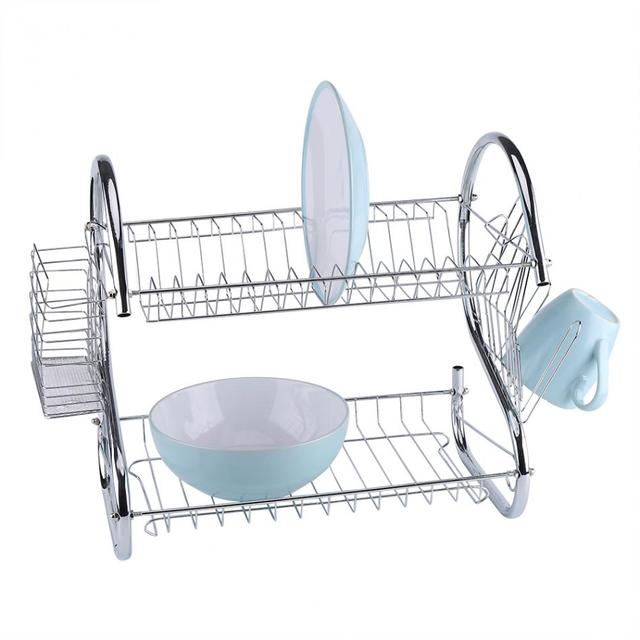 kitchen drying rack 3 hole faucet 2 tier stainless steel dish cup holder sink drainer dryer camping picnic tableware
