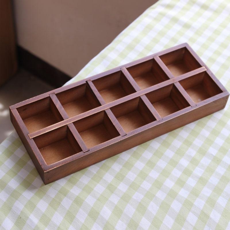 Vintage Wooden Boxes Wood Storage Cabinet 10 Lattice Grocery Cabinet Home Decorative  Storage Box Plant Case