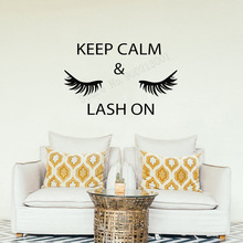Art Salon Sticker Keep Calm Lash On Wall Beauty Eyelashes Quotes Room Poster Removeable Mural Decal LY49