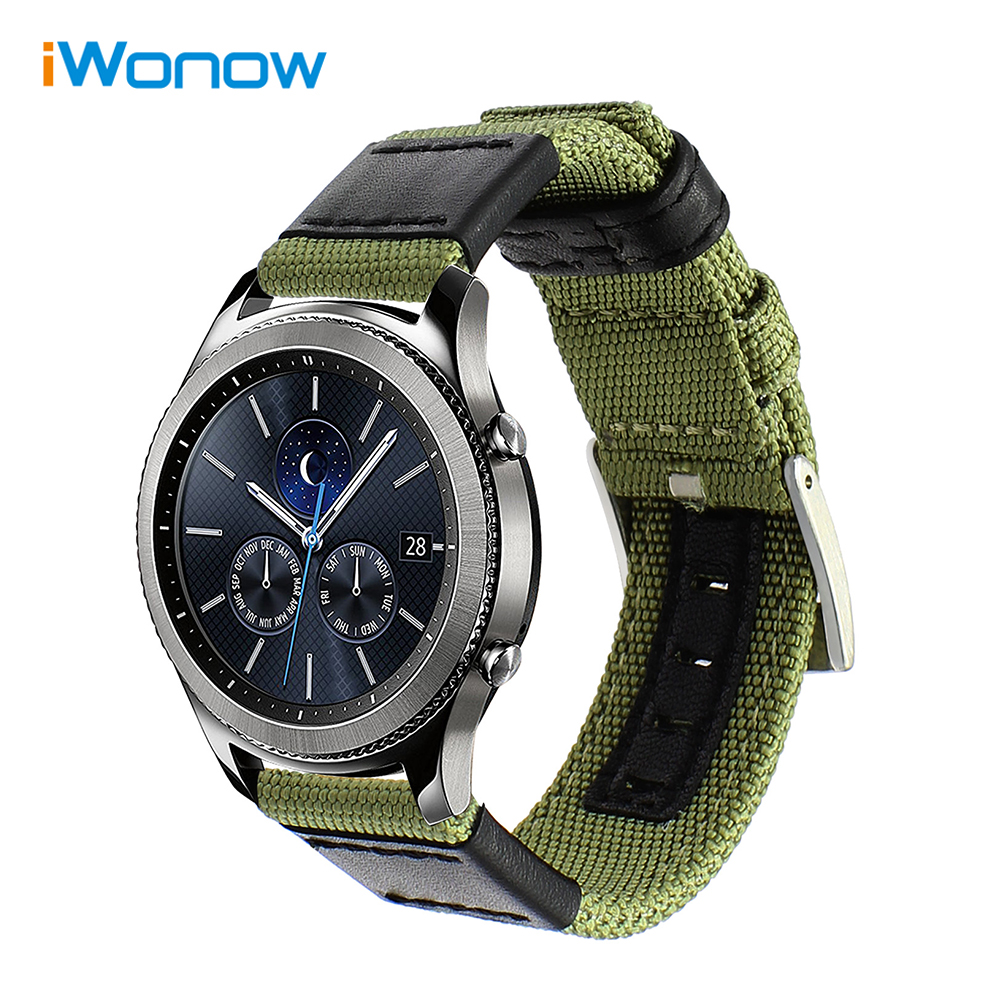 Canvas Nylon & Leather Watchband for Samsung Gear S3 Classic Frontier SM-R760 / R770 Quick Release Watch Band Steel Buckle Strap canvas nylon watchband tool for garmin fenix 5 forerunner 935 fr935 leather watch band sports strap steel buckle bracelet