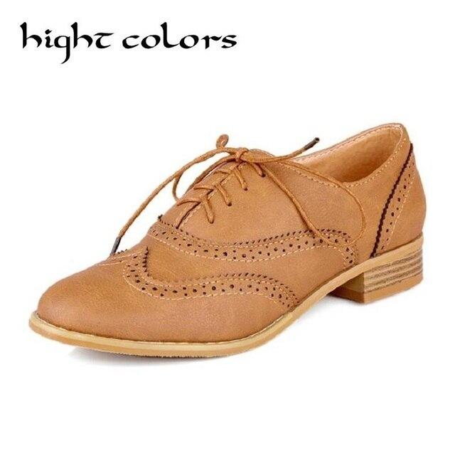 Big Size 34-43 Fashion Casual Lace Up Round Toe Women Oxford Shoes Flats  Boyfriends