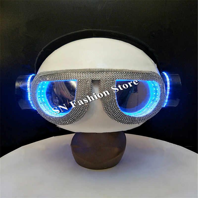 d8c033a402d EC53 LED luminous light helmet ballroom dance dj headdress bar glasses dj  hat wears stage led