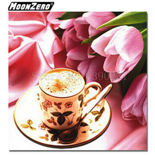 New Fashion 5D Diy Diamond painting Coffee and Rose Full Square diamond Embroidery Mosaic Gift set Crafts Decor WYZ188146