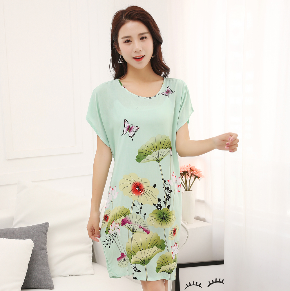 Summer New Women Cotton Home Casual Dress Chinese Style Flower Nightwear Nightgown Print Sleepwear Bathrobe Gown One Size JA31