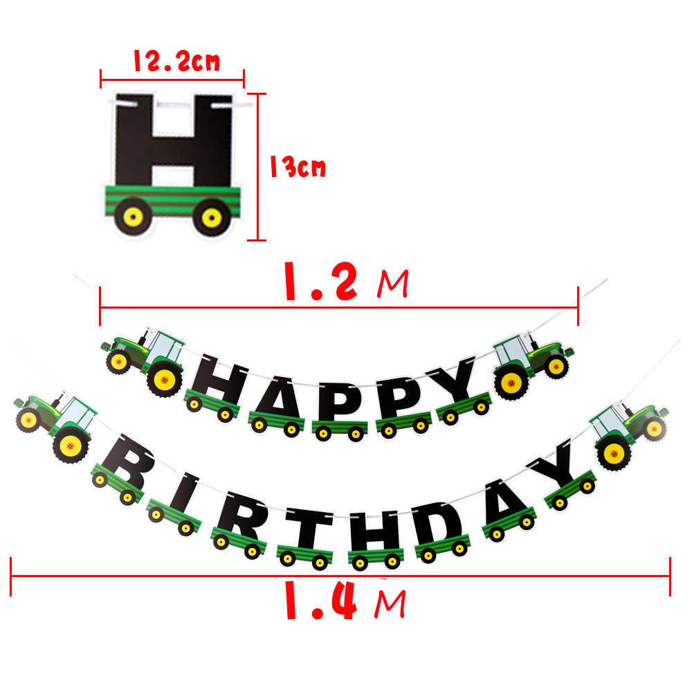 Tema de granja ingeniería coche de juguete Feliz cumpleaños banner pastel de cumpleaños vajilla niño favorito fiesta conjunto suministros de decoración