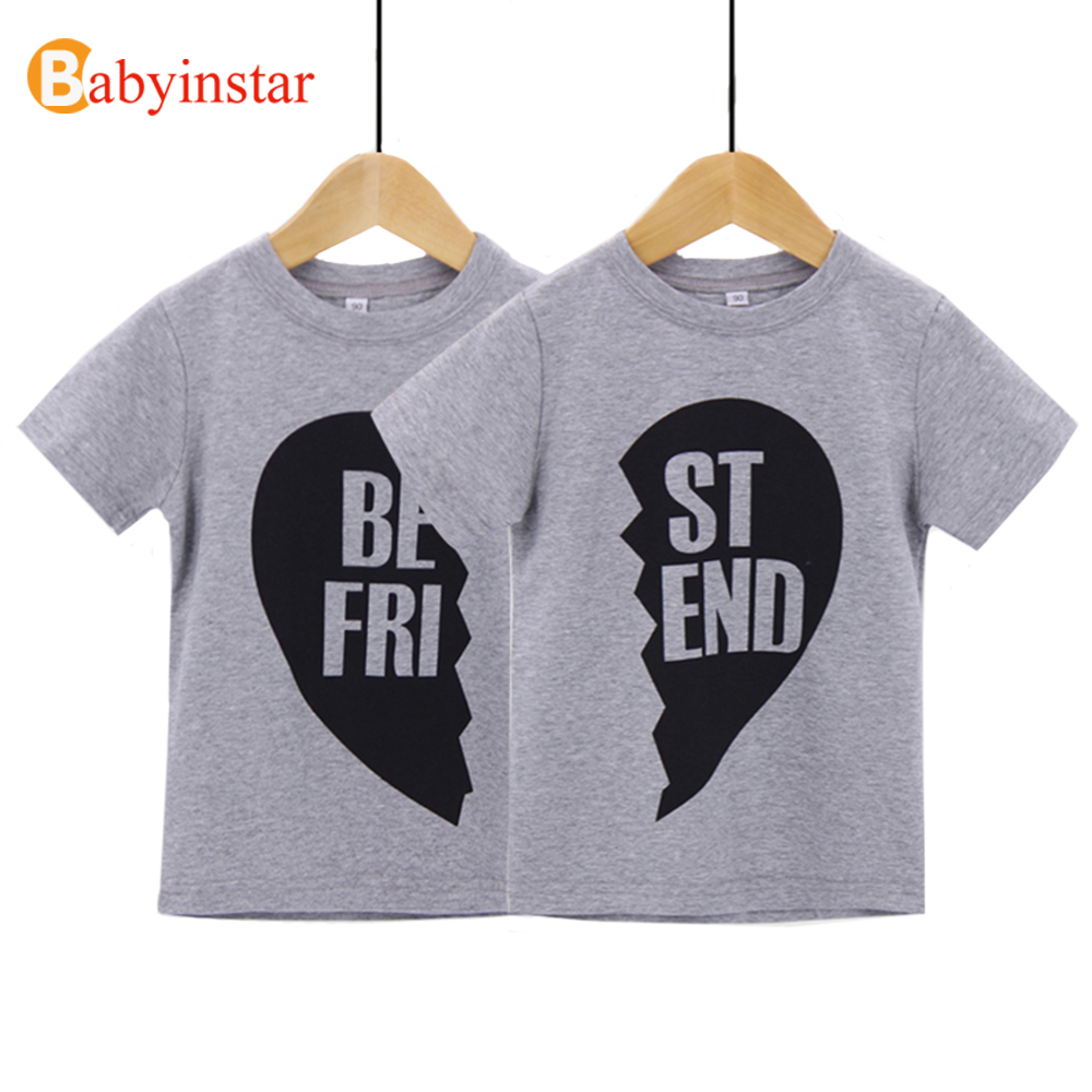Fashion 2017 baby t shirt short sleeve cotton best friend for Best quality shirts to print on