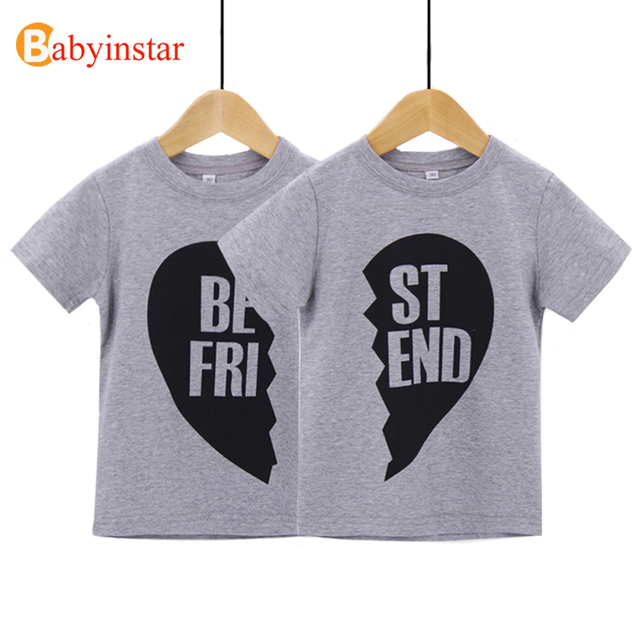 Fashion 2017 Baby T-Shirt Short Sleeve Cotton Best Friend Print Good Quality Kids Top Tees Popular Family Matching Outfits