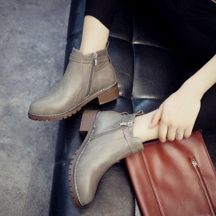 Pu gris Moda Mujeres Negro Nuevo Las Zapatos Slip Cuero Botas Mujer Caliente Otoño Sólido 2018 De 40 Tamaño La 35 en Tobillo Plana Motocicleta Primavera 5g86S5Wpcn