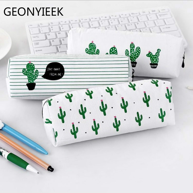 Travel Cosmetic Bag School Bag Pencil Case Women Toiletry Make Up Makeup Case Storage Pouch Purse Organizer Cactus Printing 2018 1pc 10k 20k 50k 100k 250k 500k japan alps rk27 double stereo potentiometer 10 500kax2 knurled shaft rk27 rotary switch 6pin