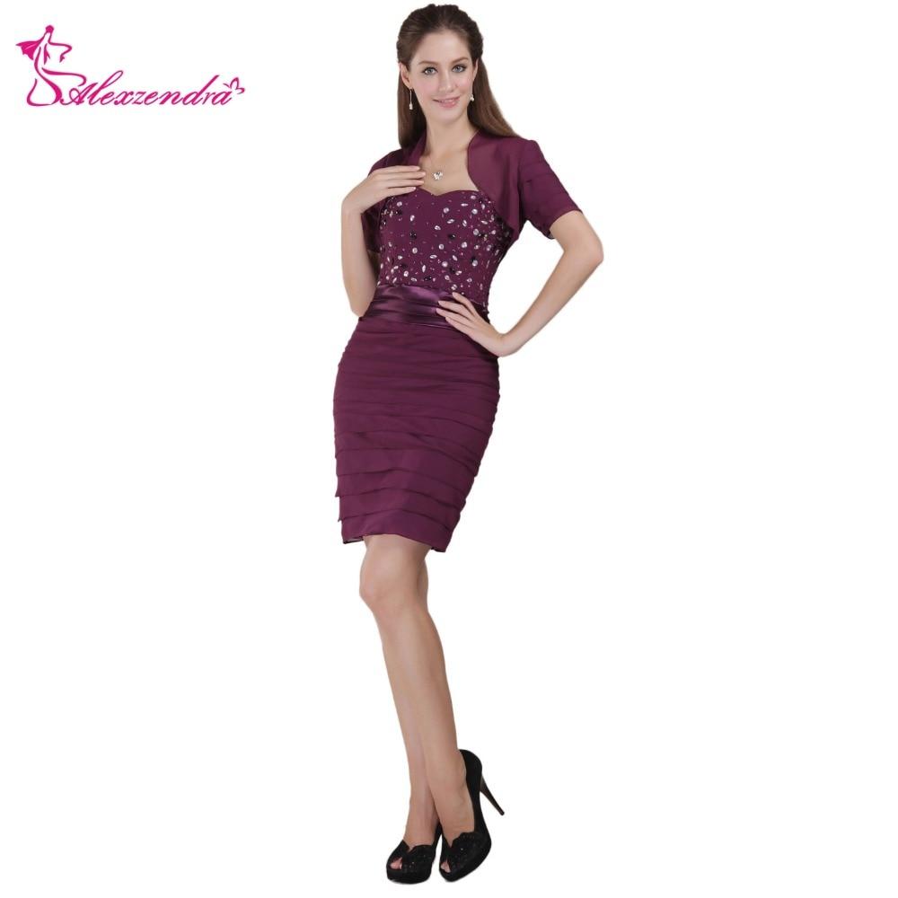 Alexzendra violet Mini mère de mariée robe avec veste perlée Sneath robes de soirée de soirée grande taille