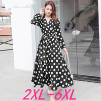 2019 autumn plus size women casual loose long sleeve dot chiffon dress red black womens large size V neck dresses 4XL 5XL 6XL