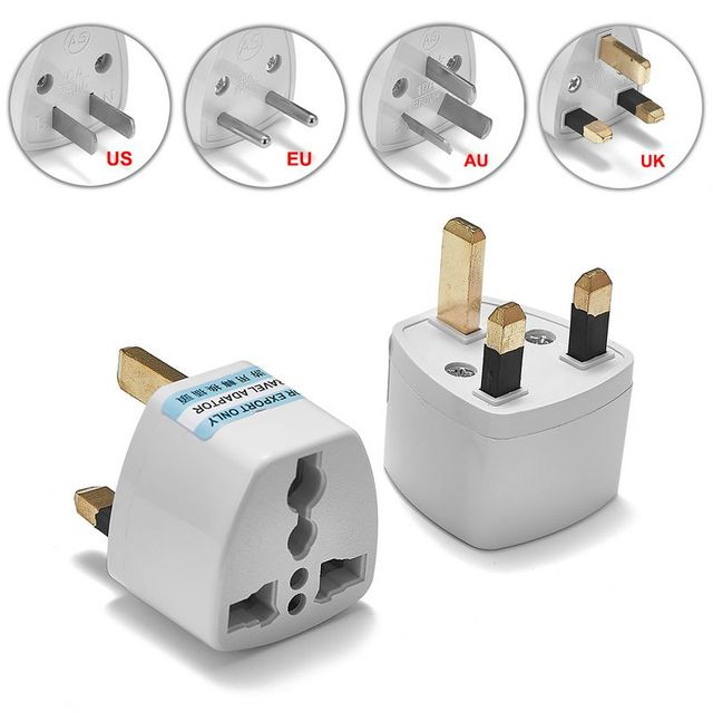 100pcs US EU AU To UK Plug Adapter American Australian European ...