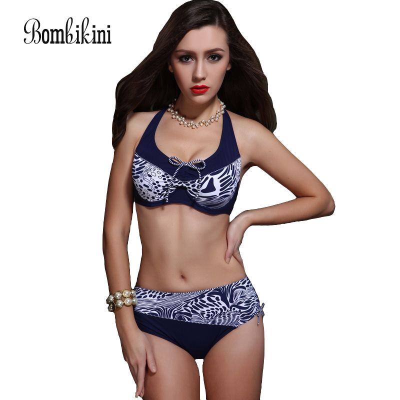Extra Large Size Middle Waist Printed Bikini Swimwear Big Bra Soft Cup Tunic Bikinis Set Swimsuit Bathing Suit lyseacia soft bra bikinis women 2017 swimsuits of large size swimming suit for big women bikini free wire plus size swimwear