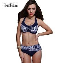 Extra Large Size Middle Waist Printed Bikini Swimwear Big Bra Soft Cup Tunic Bikinis Set Swimsuit Bathing Suit