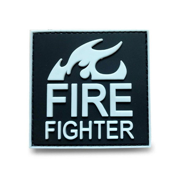 US $1 9 20% OFF|3D Tactical PVC Badge Firefighter Red Black Rescue Uniforms  Boutique Red Line Fire Medical Moral Badge Stickers-in Badges from Home &